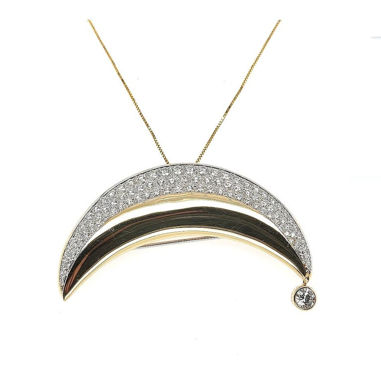 18kt Yellow Gold Luna Moon Brooch & Pendant with Top Quality Brilliant Diamonds For Sale 3
