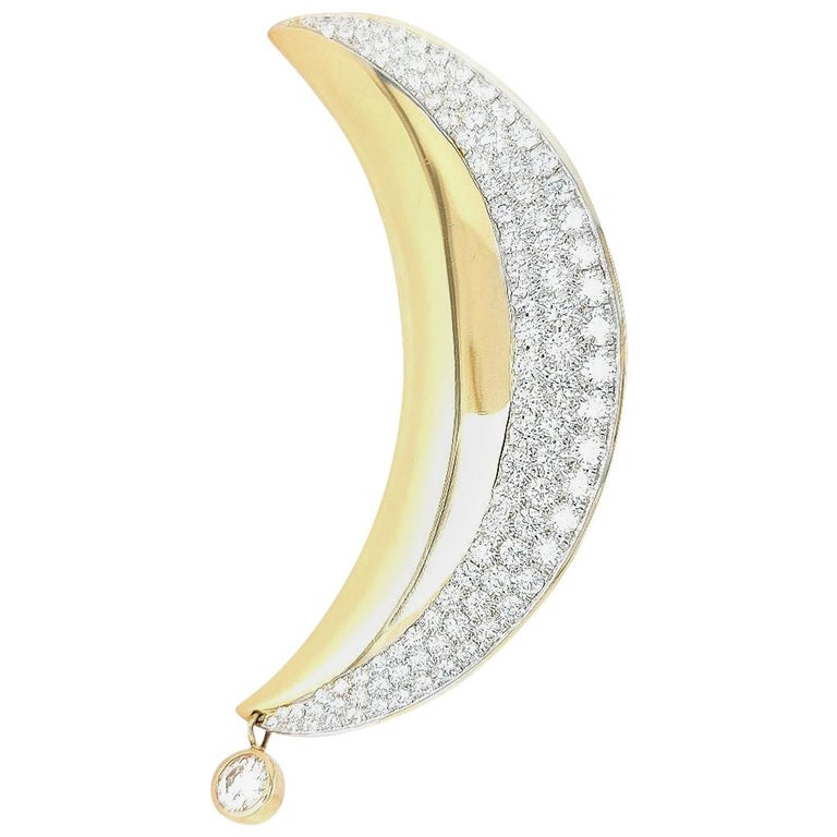 18kt Yellow Gold Luna Moon Brooch & Pendant with Top Quality Brilliant Diamonds For Sale