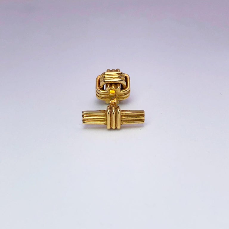 Contemporary 18 Karat Yellow Gold Monkey's Fist Knot Cufflinks For Sale