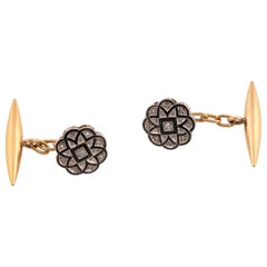 18 Karat Yellow Gold Onyx and Diamond Cufflinks
