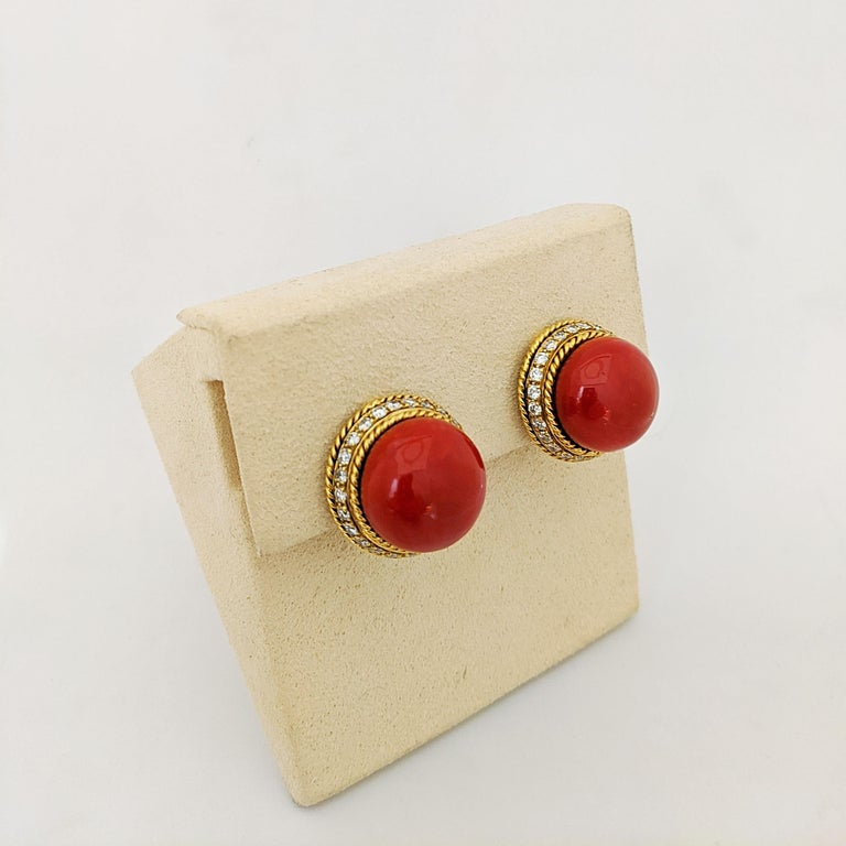 Retro 18 Karat Yellow Gold Oxblood Coral Earrings with 2.08 Carat Diamonds For Sale