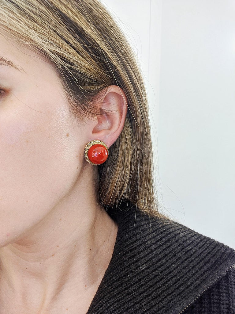 Round Cut 18 Karat Yellow Gold Oxblood Coral Earrings with 2.08 Carat Diamonds For Sale