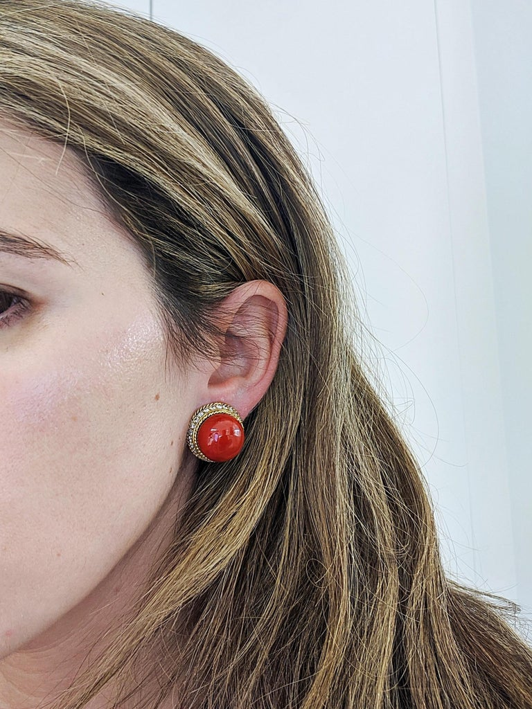 18 Karat Yellow Gold Oxblood Coral Earrings with 2.08 Carat Diamonds In New Condition For Sale In New York, NY