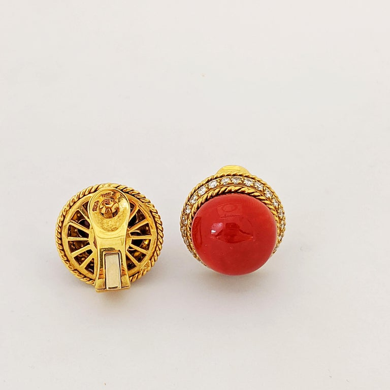 Women's or Men's 18 Karat Yellow Gold Oxblood Coral Earrings with 2.08 Carat Diamonds For Sale