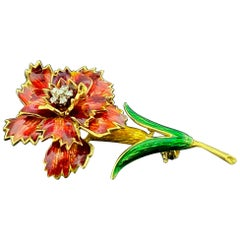 18KT Yellow Gold Painted Flower Pin