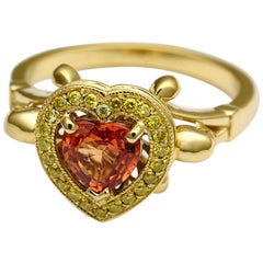 18kt Yellow Gold, Peach, Heart Sapphire and Yellow Diamond Ring