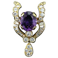 18kt Yellow Gold Pendant with Natural Amethyst and Diamonds