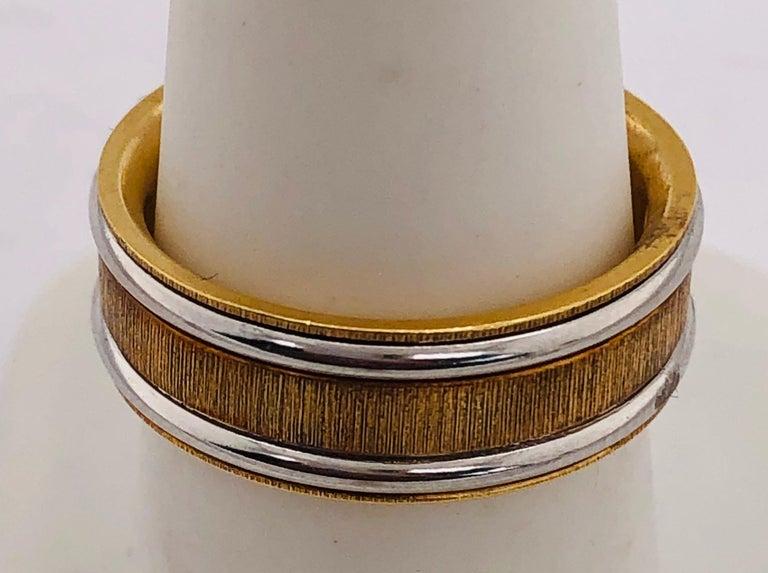 Women's or Men's 18 Karat Yellow Gold Platinum Ring Bridal or Wedding Band Ring For Sale