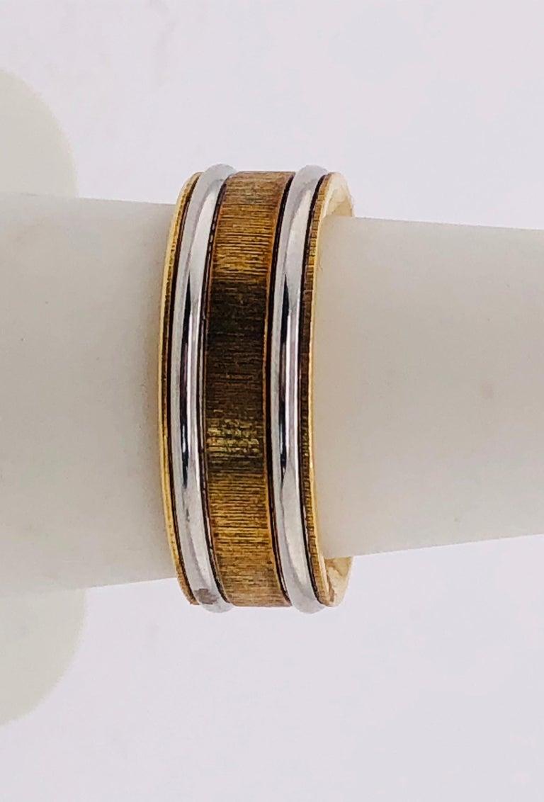 18 Karat Yellow Gold Platinum Ring Bridal or Wedding Band Ring For Sale 1