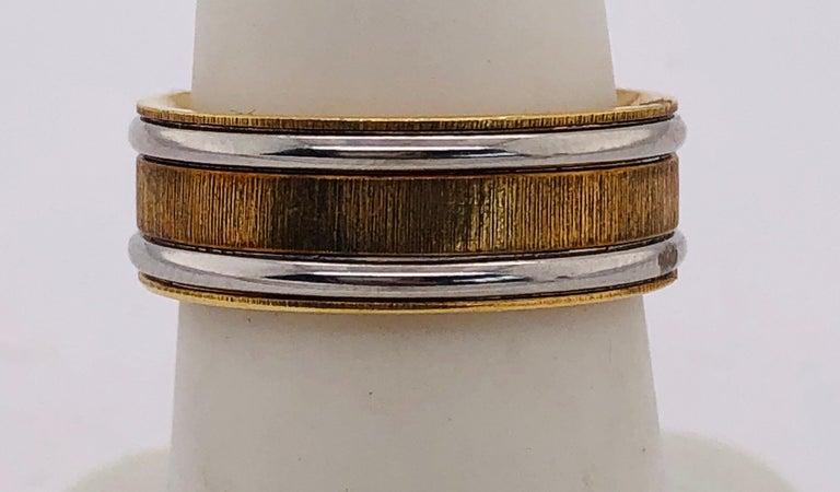 18 Karat Yellow Gold Platinum Ring Bridal or Wedding Band Ring For Sale 2
