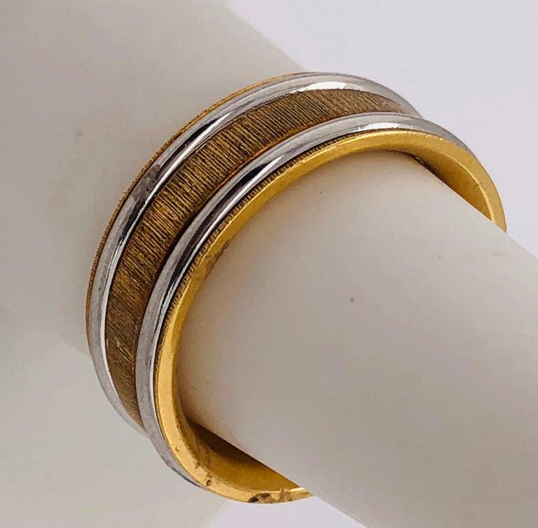 18 Karat Yellow Gold Platinum Ring Bridal or Wedding Band Ring For Sale 3