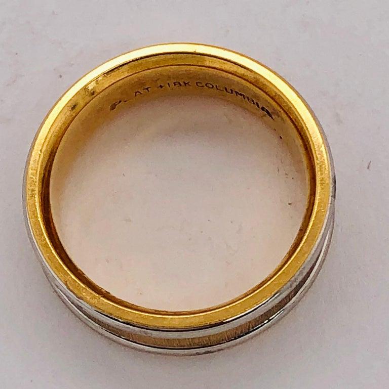 18 Karat Yellow Gold Platinum Ring Bridal or Wedding Band Ring For Sale 4