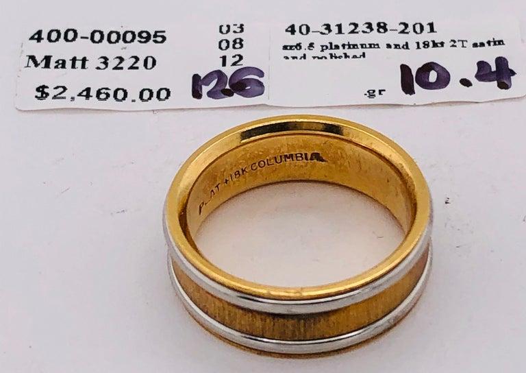 18 Karat Yellow Gold Platinum Ring Bridal or Wedding Band Ring For Sale 5