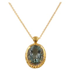 18 Karat Yellow Gold Praseolyte and Brown Diamonds Garavelli Pendant with Chain