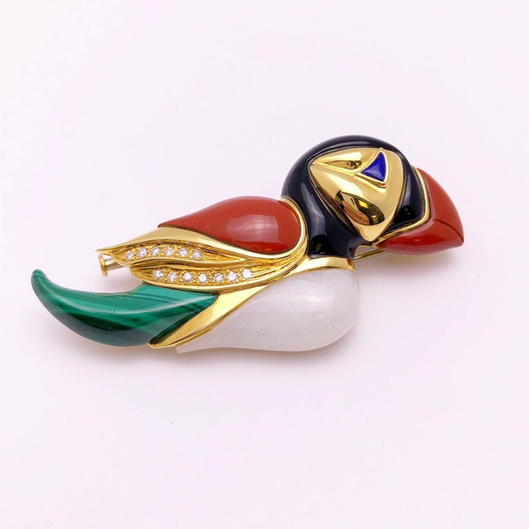 Women's or Men's 18 Karat Gold Puffin Brooch with Diamonds, Onyx, Jasper, Agate and Malachite For Sale