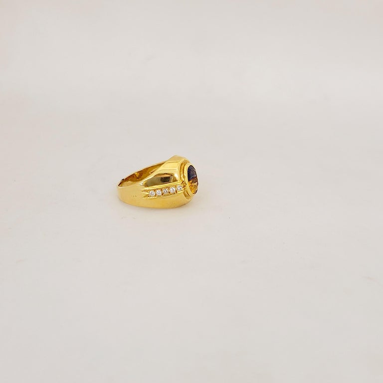 Contemporary 18 Karat Yellow Gold Ring with Blue Sapphire and Citrine Half Moon Center For Sale