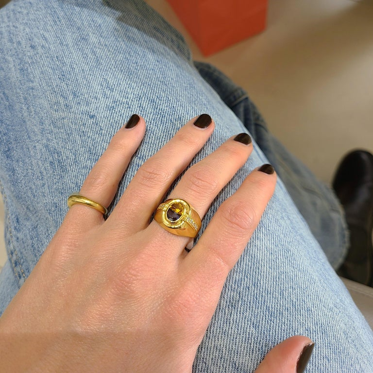 Half Moon Cut 18 Karat Yellow Gold Ring with Blue Sapphire and Citrine Half Moon Center For Sale