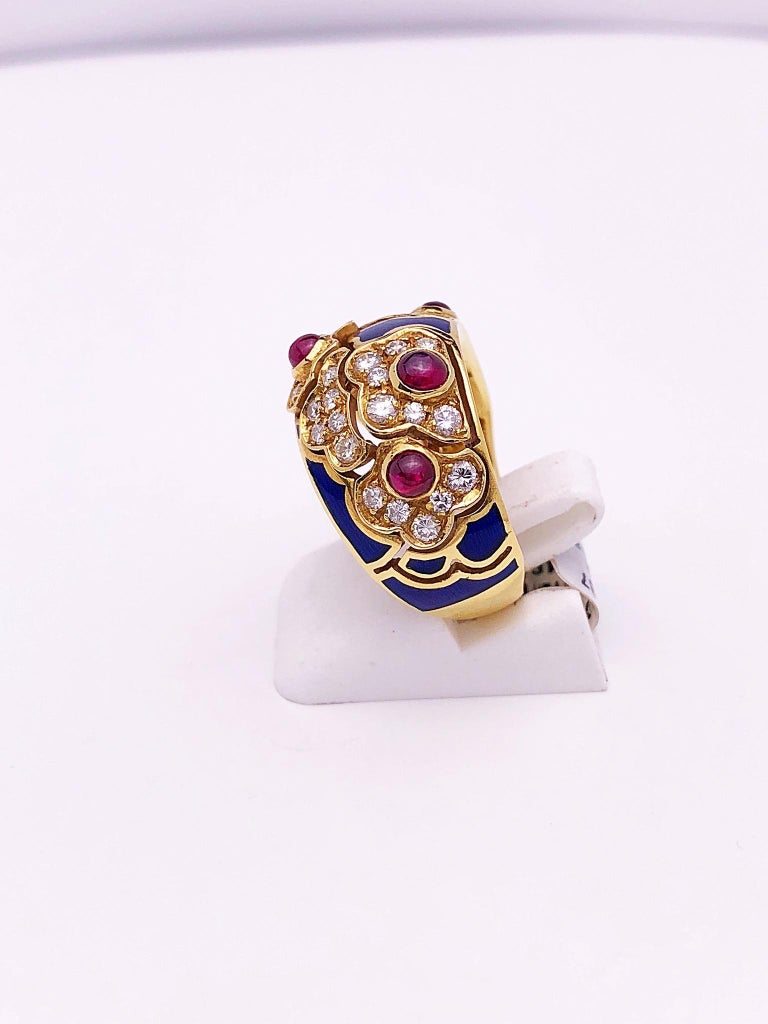 Contemporary 18 Karat Yellow Gold Ring with Rubies, Diamonds and Enamel For Sale