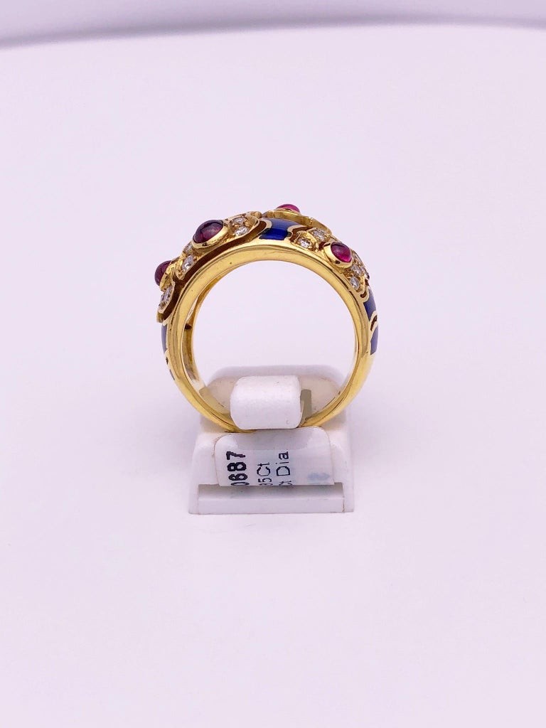Round Cut 18 Karat Yellow Gold Ring with Rubies, Diamonds and Enamel For Sale