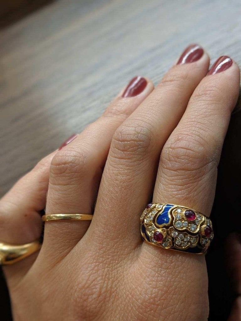 Women's or Men's 18 Karat Yellow Gold Ring with Rubies, Diamonds and Enamel For Sale