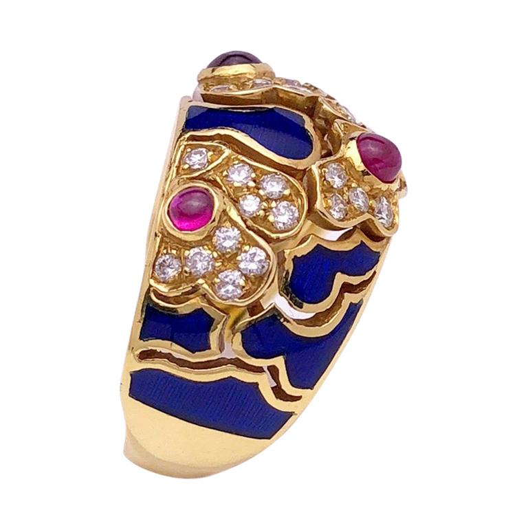 18 Karat Yellow Gold Ring with Rubies, Diamonds and Enamel For Sale