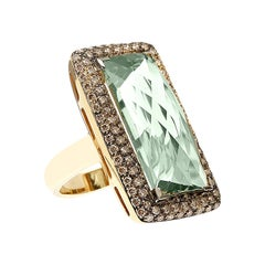 18kt Yellow Gold Ring with Stunning 18ct Green Amethyst and Brown Diamonds