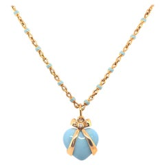 18 Karat Gold Robert Bielka Neckalce with Enamel Heart Pendant with Diamond
