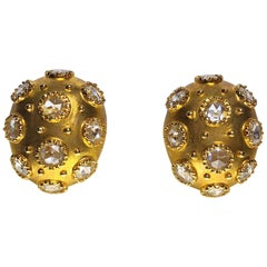 18 Karat Yellow Gold and Rose Cut 3.93 Carat Diamond Bombay Oval Earrings