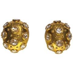 18 Karat Yellow Gold and Rose Cut 3.93 Carat Diamond Bombay Oval Earrings