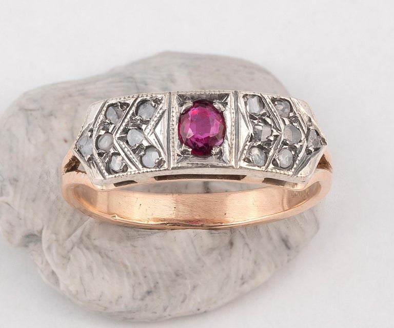 Art Nouveau 18 Karat Yellow Gold Rose Diamond and Ruby Ring For Sale