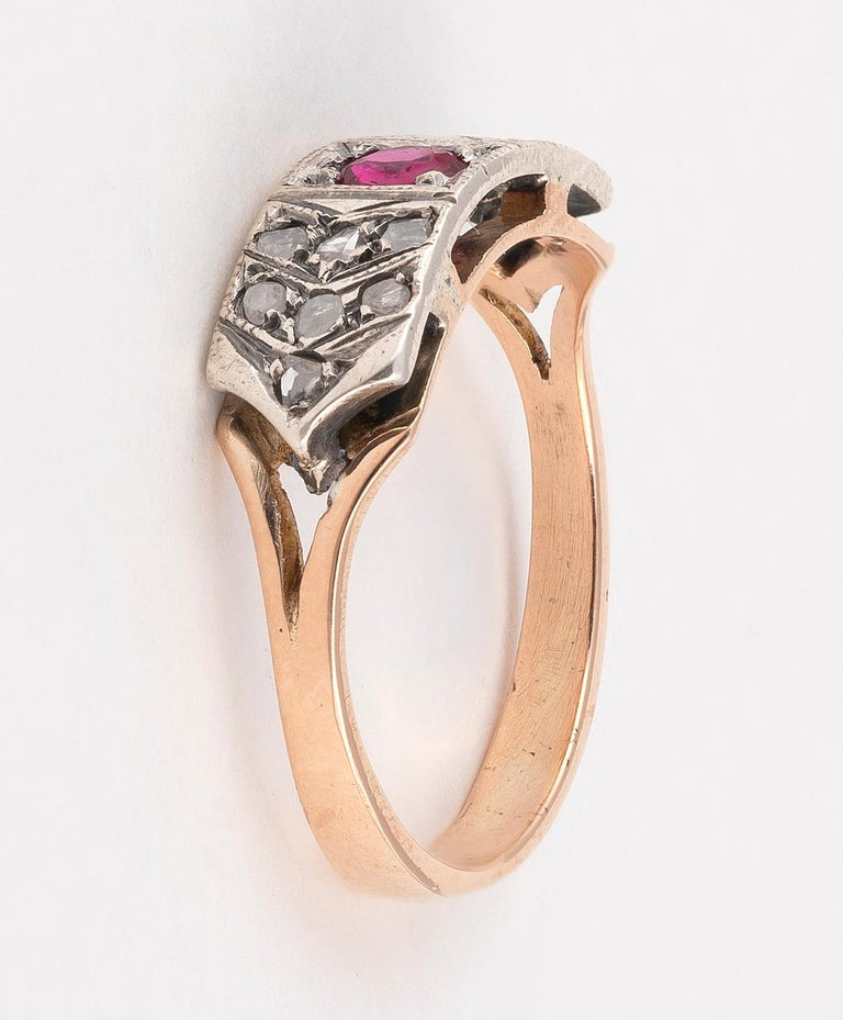 Rose Cut 18 Karat Yellow Gold Rose Diamond and Ruby Ring For Sale