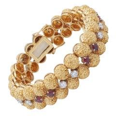 Oscar Heyman 18kt Yellow Gold, Ruby and Diamond Bracelet