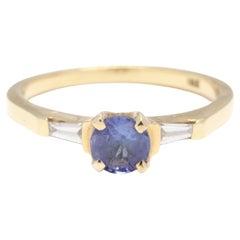 18KT Yellow Gold, Sapphire & Diamond Three Stone Engagement Ring