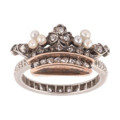 18kt Yellow Gold Platinum Silver and Diamond Crown Ring
