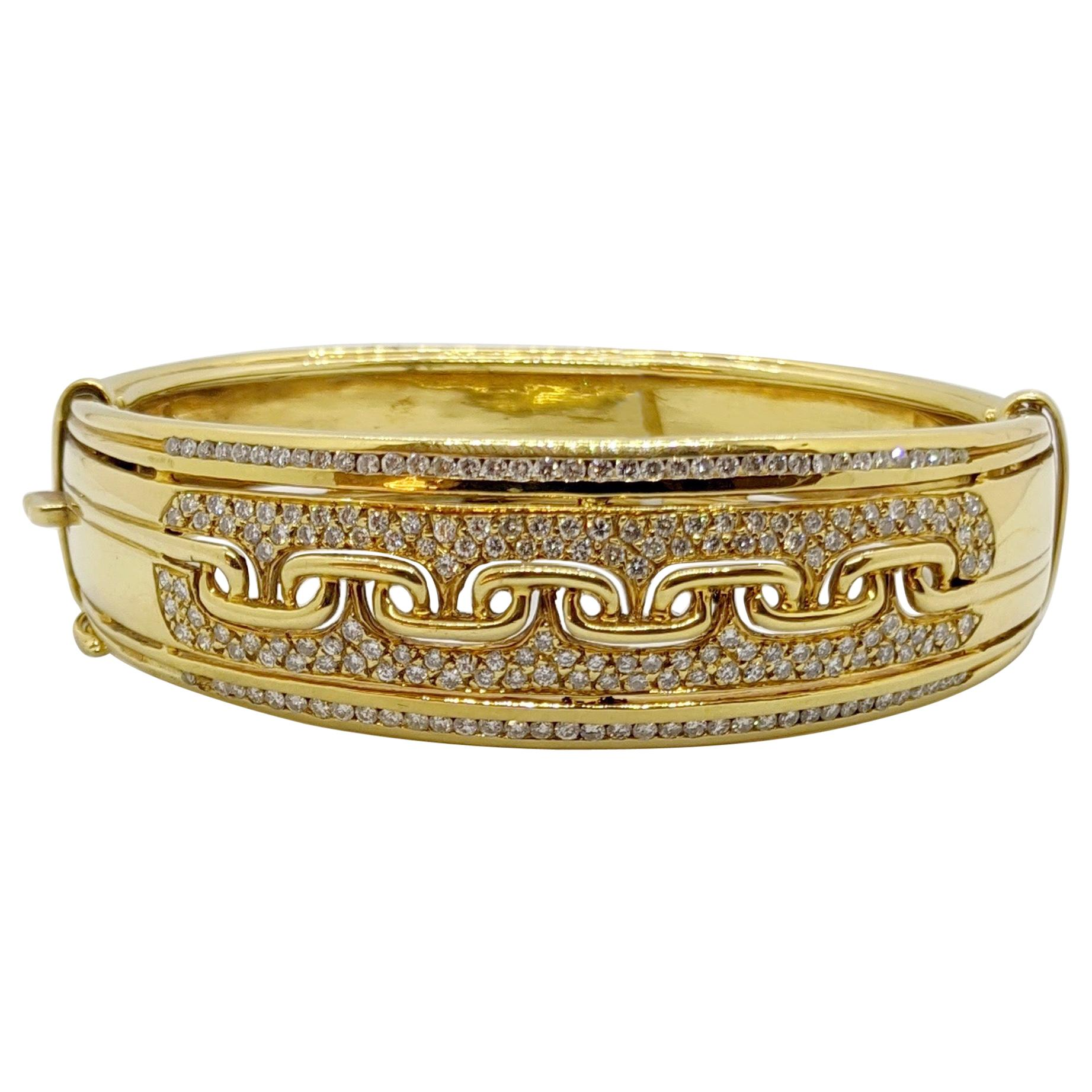18KT Yellow Gold Wide Cuff Bracelet with 3.32Ct, Diamonds & Gold Links Pattern