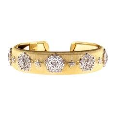 Diamond and Yellow Gold Leonardo Da Vinci Cut Cuff Bangle Bracelet