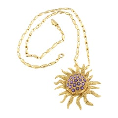 18kt Yellow Gold with Amethyst Chain and Pendant