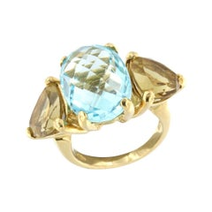 18kt Yellow Gold with Blue Topaz and Citrine Ring