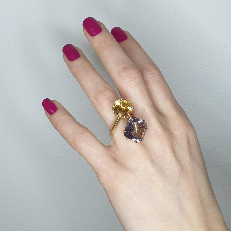 18 Kt Rose yellow gold With Amethyst and Citrine  made Italy by Stanoppi Jewellery since 1948. Classic and trendy ring in yellow gold 18 Karat with Amethyst square cut (size: 14 mm) and Citrine square cut ( mm 12)   g.10.50 This ring is part of the