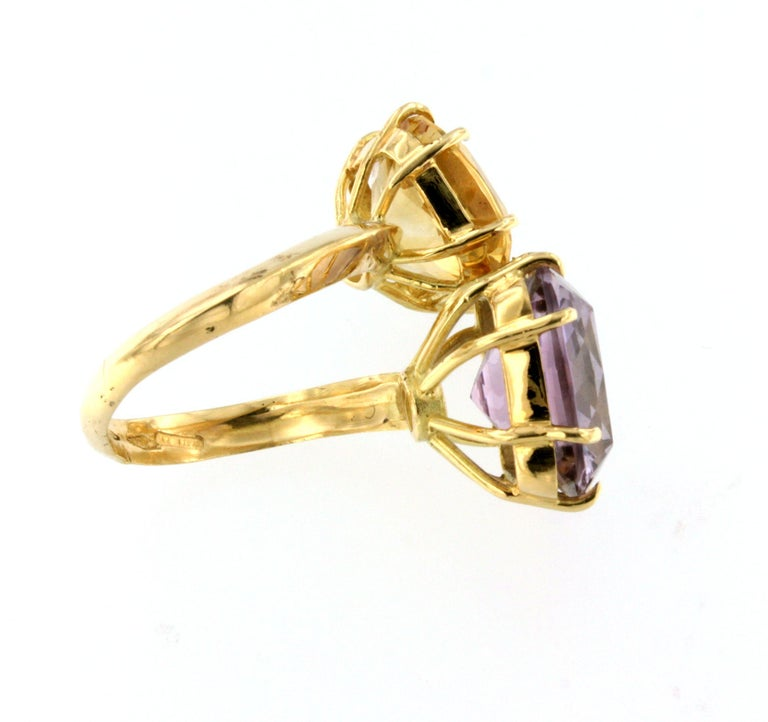 18Kt Yellow Gold with Citrine and Amethyst Ring In New Condition For Sale In  GALLARATE, IT