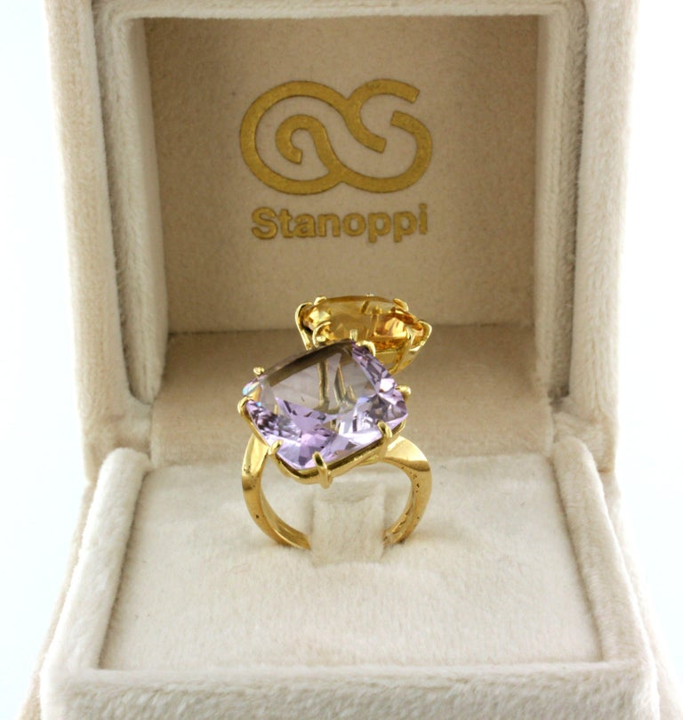 18Kt Yellow Gold with Citrine and Amethyst Ring For Sale 1