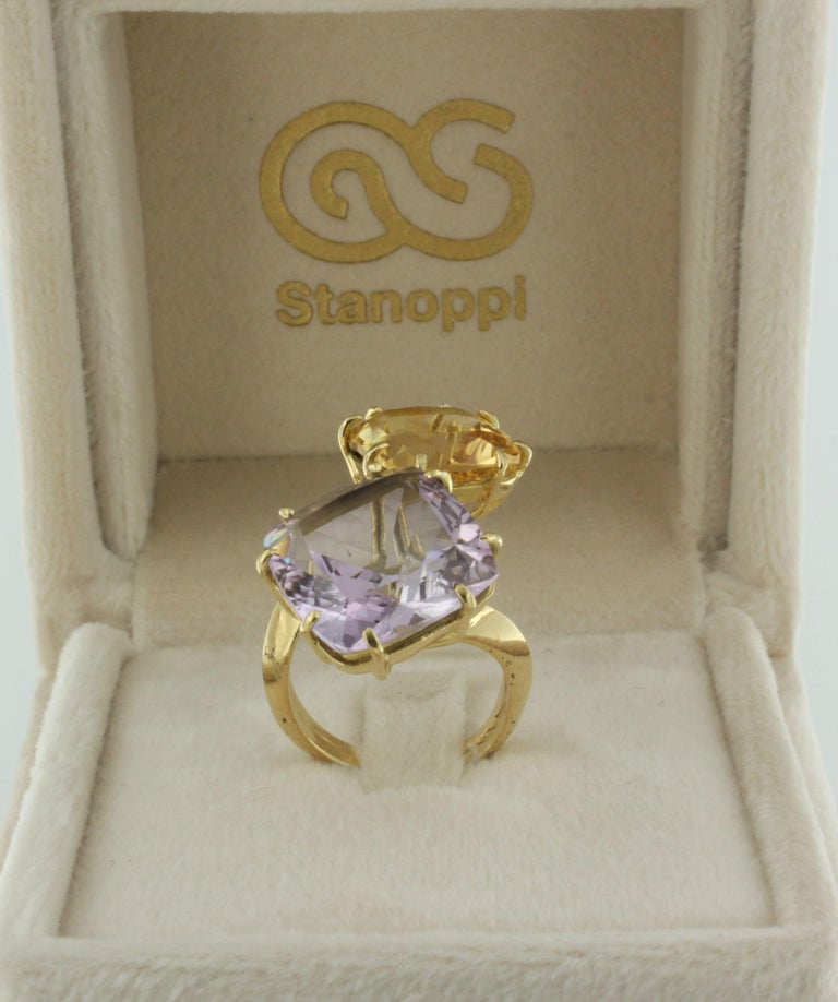 18Kt Yellow Gold with Citrine and Amethyst Ring For Sale 2