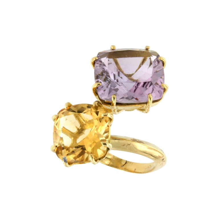 18Kt Yellow Gold with Citrine and Amethyst Ring For Sale