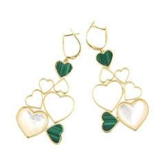 18Kt Yellow Gold with Motherpearl and Malachite Earrings