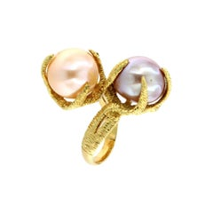 18Kt Yellow gold with Pink Pearls Ring