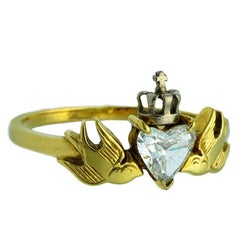 William Llewellyn Griffiths Diamond Crowned Heart & Swallows Ring