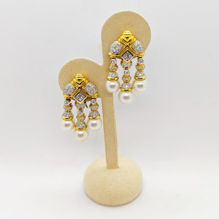 Contemporary 18 Karat Yellow & White Gold, Earrings with South Sea Pearls & 2.74Ct. Diamonds For Sale