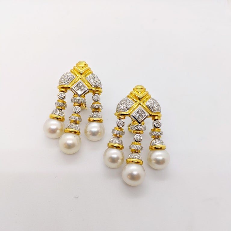 Round Cut 18 Karat Yellow & White Gold, Earrings with South Sea Pearls & 2.74Ct. Diamonds For Sale