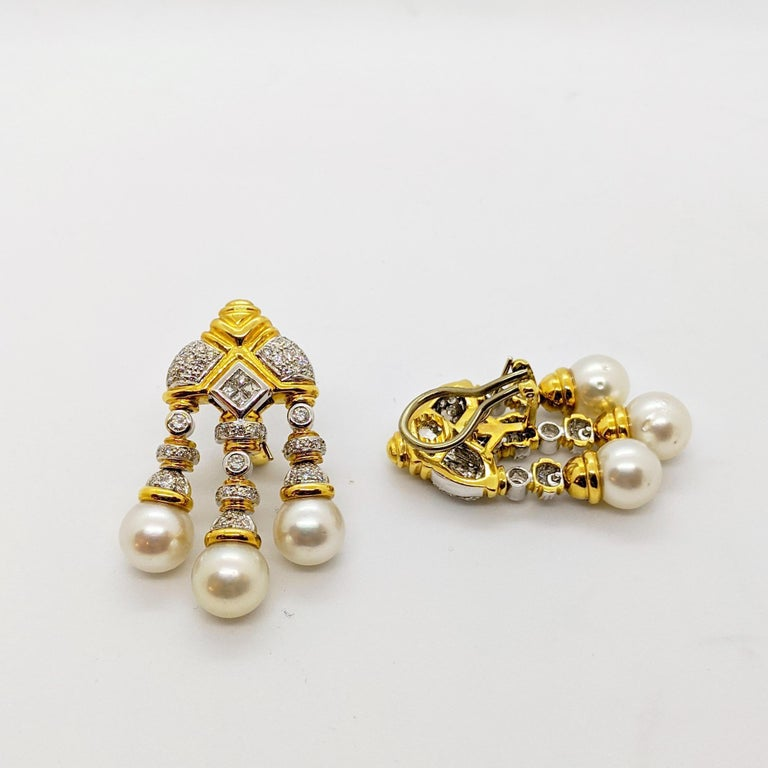 18 Karat Yellow & White Gold, Earrings with South Sea Pearls & 2.74Ct. Diamonds In New Condition For Sale In New York, NY