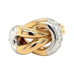 18kt Yellow & White Gold Knot Ring with .23ct. Diamonds